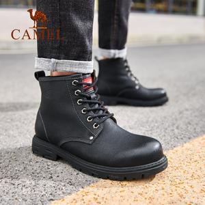 骆驼男鞋时尚高帮休闲工装靴牛皮黑色韩版潮流百搭真皮英伦马丁靴