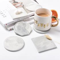 小西家 北欧大理石纹陶瓷杯垫 家用防滑餐垫隔热垫碗垫防烫水杯垫