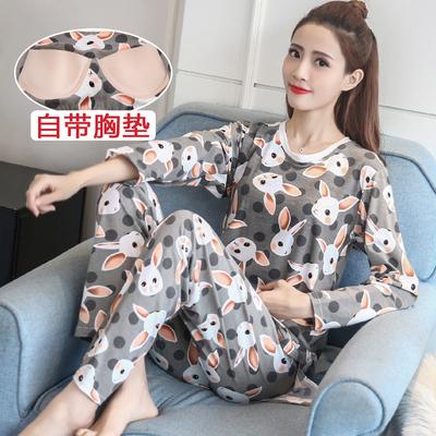 春秋季女士自带胸垫睡衣长袖纯棉质一体式文胸罩杯家居服韩版套装