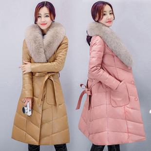皮羽绒服女加绒加厚中长款2017冬装新款显瘦PU真皮衣皮草狐狸毛领
