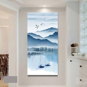 新中式走廊过道挂画现代简约竖版壁画玄关装饰画客厅水墨山水画