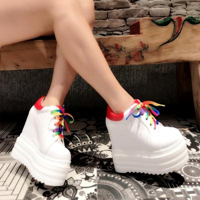 14CM坡跟短靴2019秋冬新款厚底松糕鞋超高跟休闲小白鞋内增高女鞋