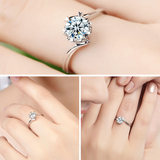 Pt950 Platinum Diamond Ring Snowflake Diamond Ring Female Wedding Engagement Love Six-Prong Ring Moss Stone White Gold Ring