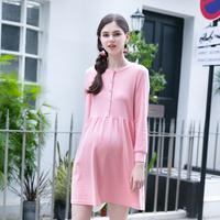 孕妇装春装新款时尚韩版修身长袖纯色上衣可哺乳中长款针织连衣裙