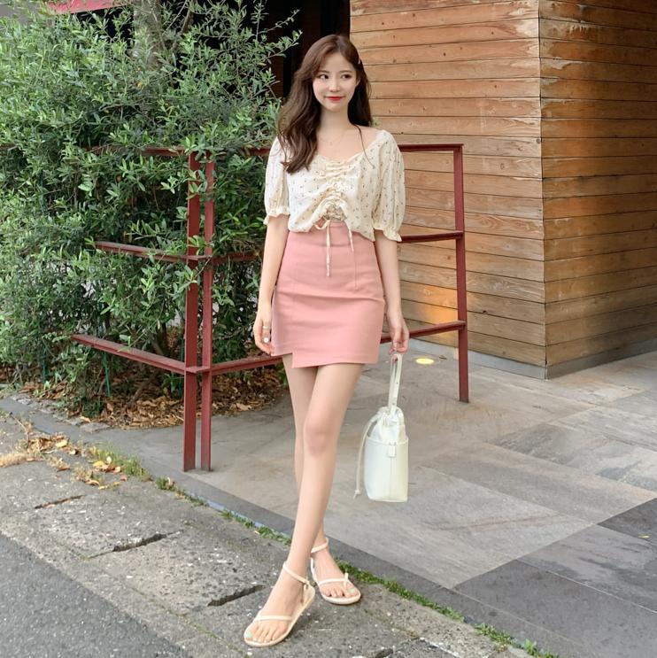 「Fairy Ann」韩国正品代购.6月夏款高腰粉嫩百搭包臀不规则短裙