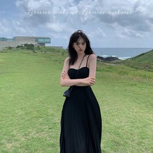 Lienni 2019 New Summer Chic Cold Wind Slim, Sexy, High waist, 100 pleats Long Suspended Dresses