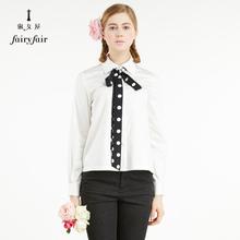 淑女屋职业衬衣女新款飘带时尚气质波点长袖百搭女士白色衬衫图片