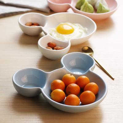 创意可爱儿童餐具陶瓷分格餐盘卡通个性宝宝饭盘碟早餐盘水果盘子