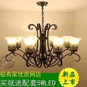 欧式复古客厅双层吊灯大气美式乡村餐厅灯饰led卧室铁艺简约房间