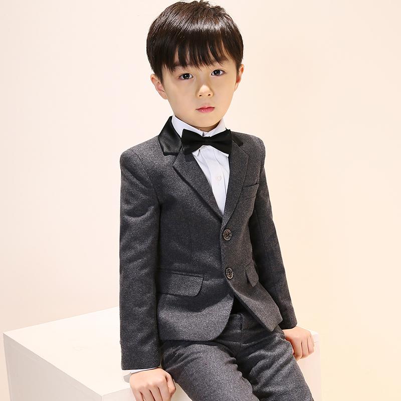 男童西装套装儿童西服小花童礼服中大童男孩钢琴演出服三件套春秋