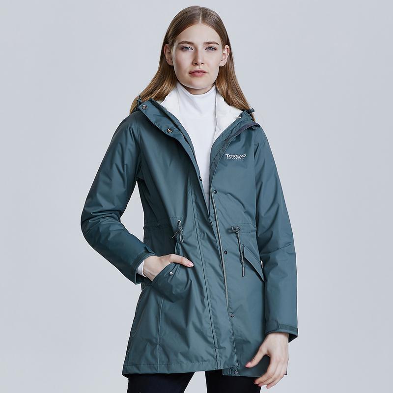 探路者户外秋冬女式中长款防水三合一冲锋衣含羽绒服内胆收腰风衣
