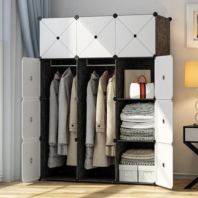 衣柜简易组装塑料布衣橱租房单小卧室布艺挂经济型仿实木收纳柜子