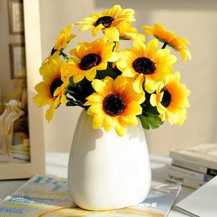 向日葵花瓶带花仿真花套装假花客厅餐桌花节日装饰品室内摆件花艺