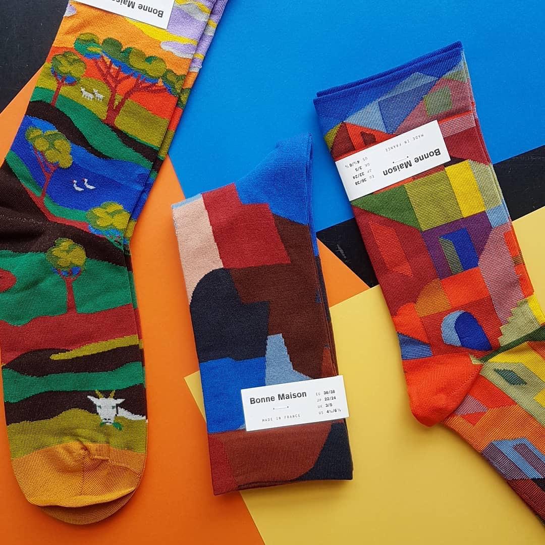 北京现货 19秋冬 法国Bonne Maison文艺油画艺术图案棉袜长袜短袜