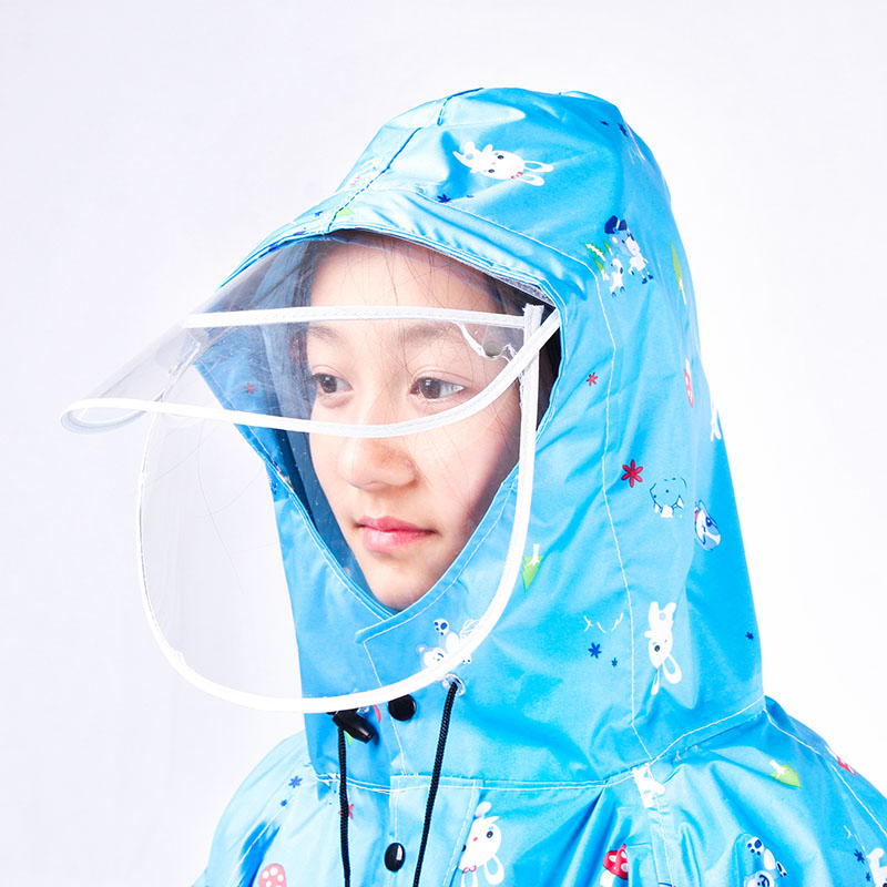 学生徒步骑行雨衣加厚带书包位单人电动电瓶车自行车雨披儿童男女