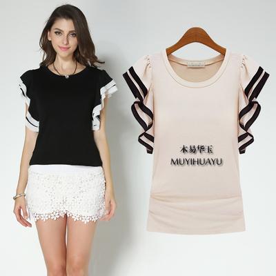 2018夏季新品莫代尔Tt恤衫女装大码雪纺圆领短袖显瘦打底衫棉上衣