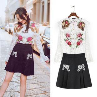 名媛迪丽热巴同款喇叭袖花朵刺绣蕾丝衫+蝴蝶结半身裙短裙套装女