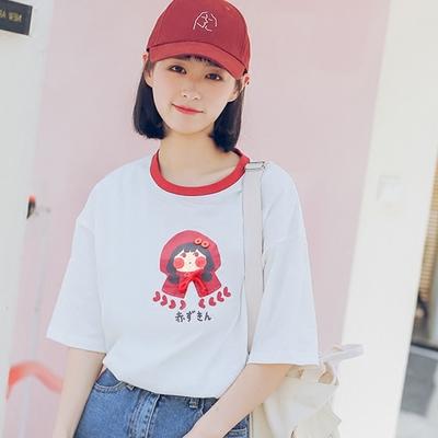 2018夏季新款日系女装韩版学生宽松萌ulzzang印花短袖圆领T恤上衣