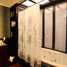 欧式简约创意白色大花EVA半透卫生间浴帘窗帘布防水防霉套装 包邮图片
