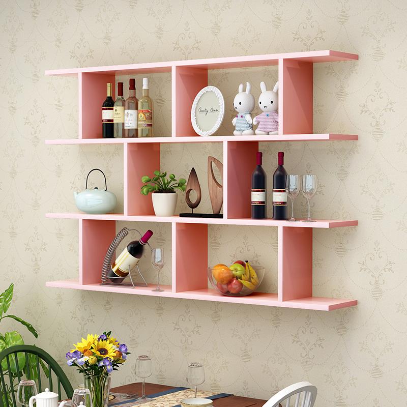 书架墙上置物架壁挂墙储物柜卧室墙面创意格子客厅酒架吊柜墙壁柜