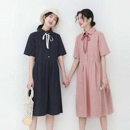 金大班芦花2019春季新款韩版小个子领结宽松短袖连衣裙子女学生潮