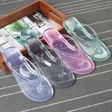 夏季人字拖女士果冻透明沙滩鞋防滑水晶韩版浴室拖鞋塑料凉拖包邮