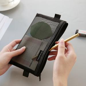 韩国简约小清新透明网纱网格创意考试笔袋男女大容量文具袋文具盒