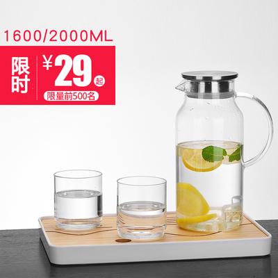 玻璃耐高温带盖冷水壶