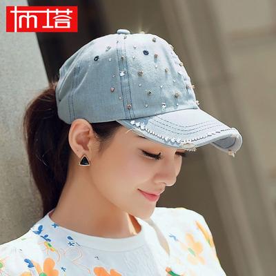 布塔春夏鸭舌帽出游时尚百搭帽子女韩版户外太阳帽秋冬镶钻牛仔帽