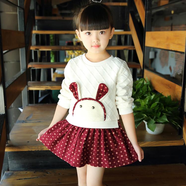 女童童装儿童针织衫连衣裙中小童纯棉裙公主裙