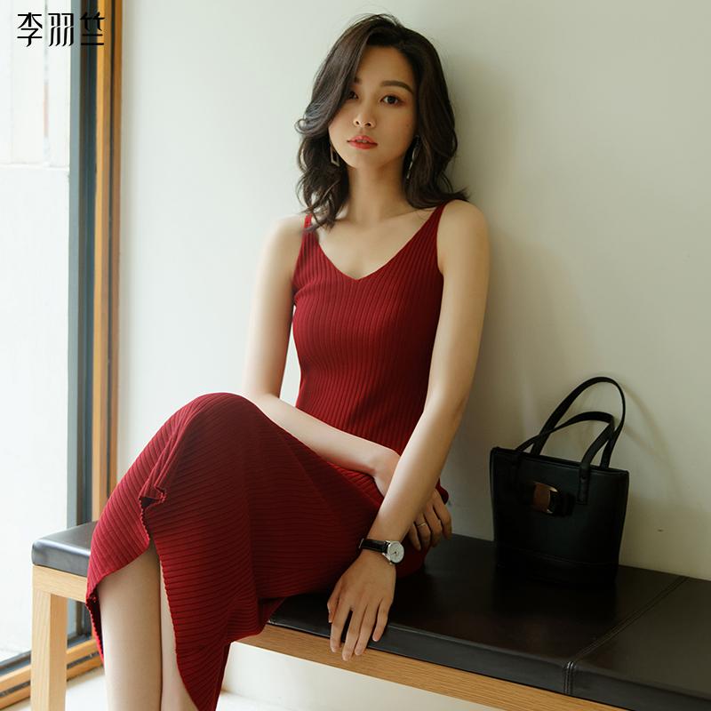 新款高腰吊带裙