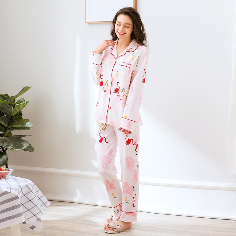 芬腾春秋月子服产后家居服纯棉哺乳衣产妇喂奶孕妇火烈鸟睡衣套装