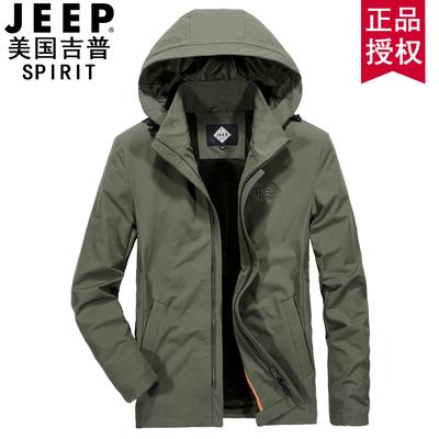 JEEP男装官方正品秋冬新款尼龙夹克男上衣连帽外套加绒加厚冲锋衣