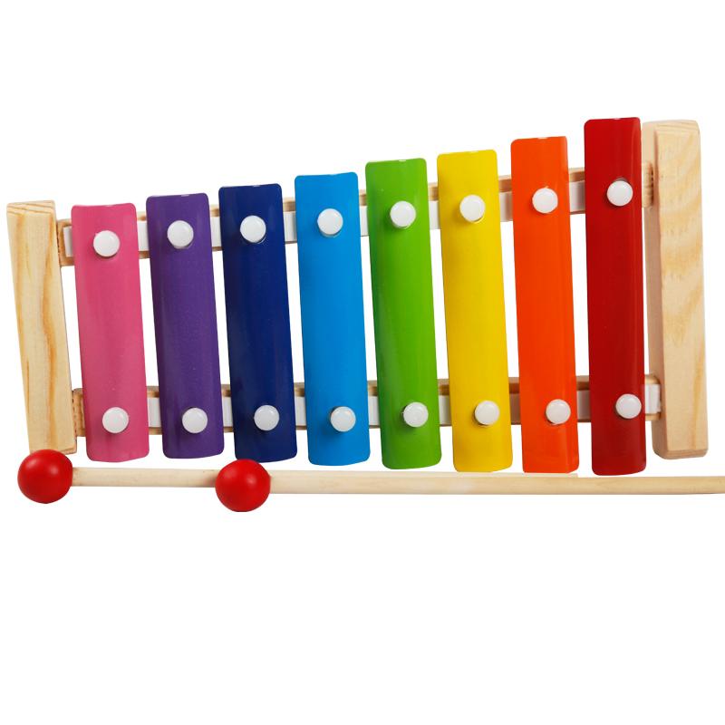 儿童木质八音阶手敲琴木琴铝板琴婴幼儿益智力宝宝木制玩具1-3岁