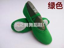 新款绿色布头舞蹈鞋儿童软底鞋练功鞋成人芭蕾舞蹈鞋女童肚皮舞鞋