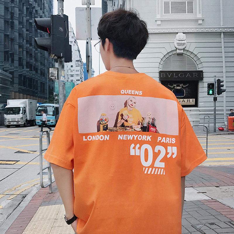 港风夏季新款潮男欧美印花短袖tee韩版青少年帅气chic宽松半袖T恤