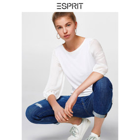 ESPRIT 女装2018夏圆领针织拼接七分袖T恤-028EO1K001