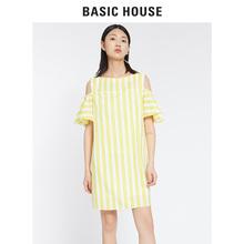 Basic House/百家好春夏新款露肩中短款连衣裙女装韩版HSOP327B图片