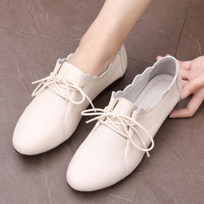 女士秋季鞋子女2018新款单鞋平底百搭休闲鞋真皮软底孕妇大码女鞋