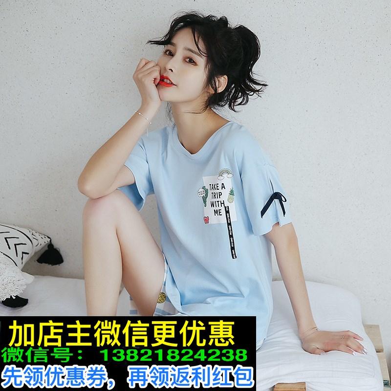 睡衣女夏季短袖两件套装纯棉可外穿夏天韩版清新学生家居服宽松士