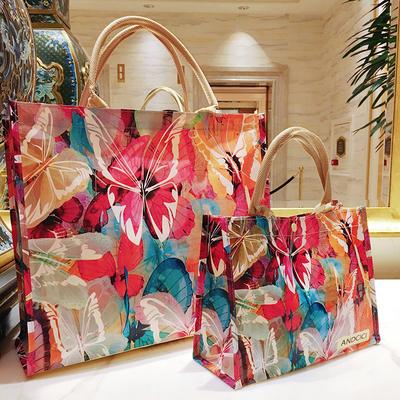 欧美蝴蝶小号文件饭盒拉链包大容量旅行李收纳手提环保购物袋女包