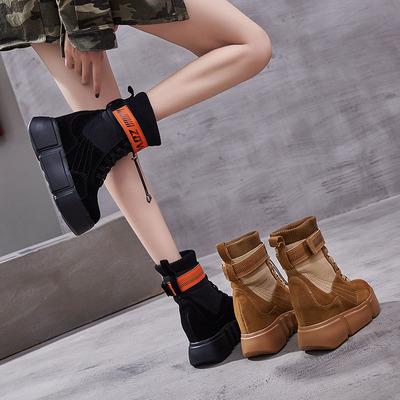 女鞋2018新款短靴高跟秋季马丁靴女英伦风韩版百搭厚底内增高靴子
