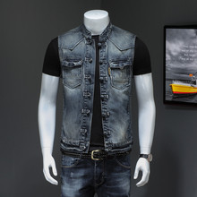 Retro button design personalized denim waistcoat men's self-cultivation Korean version handsome jacket sleeveless denim fashionable men's clothes