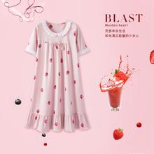 安之伴草莓睡衣女夏纯棉短袖韩版睡裙甜美可爱花边少女家居服外穿图片