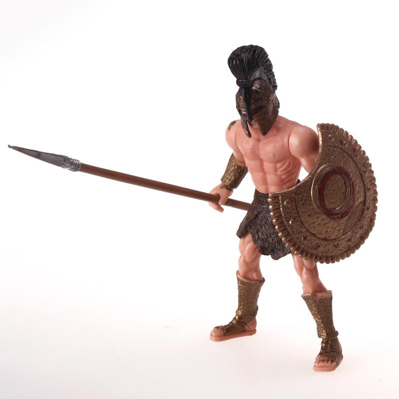 斯巴达克角斗士玩具模型古罗马兵人10.5cm角斗战士模型配兵器盾牌
