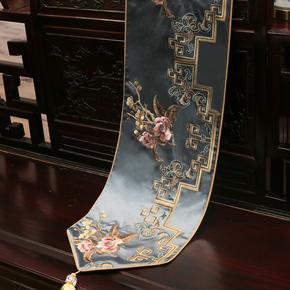 新中式绣花桌旗中国风古典桌布客厅餐桌电视柜茶几布艺床旗包邮