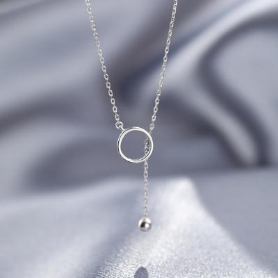 【巷南】925纯银几何圆圈项链女简约个性百搭锁骨链冷淡风颈链