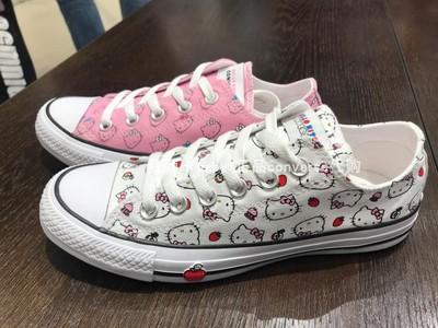 正品匡威Converse专柜 Hello Kitty联名款低帮粉色帆布鞋164631C