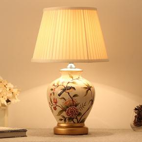 卧室床头台灯客厅美式田园欧式地中海新中式布艺花鸟彩绘陶瓷台灯