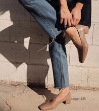 2018秋冬新款深口方头真皮女单鞋欧美两穿一脚蹬懒人鞋粗跟乐福鞋
